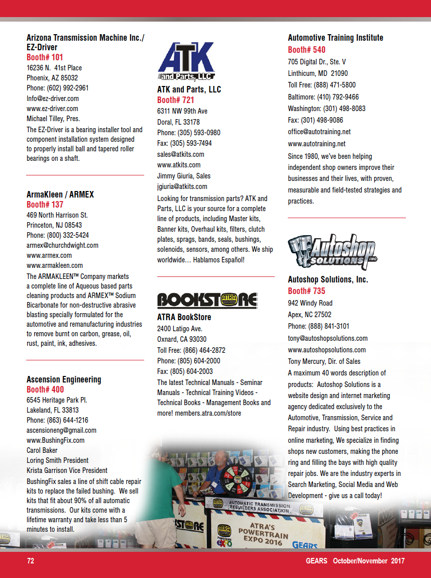 Gears Magazine   ATRA's 2017 Powertrain Expo Exhibitor Directory
